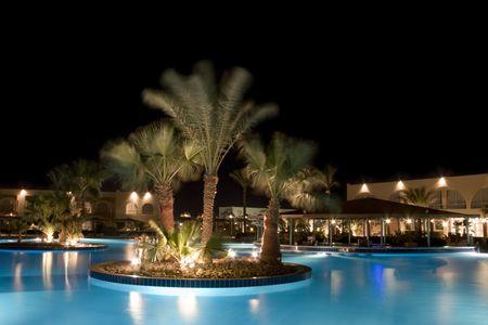night scene at health resort photo