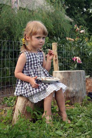 young cute girl in farm