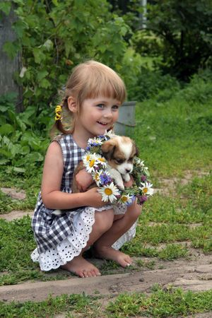 endearing: young cute girl with her dog