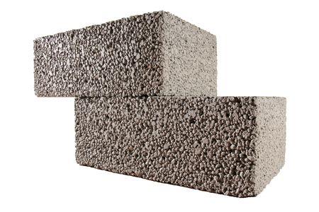 two concrete blocks isolated on white Stock Photo