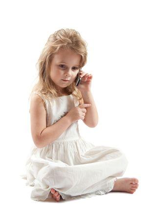Cute girl in white dress, high-hey