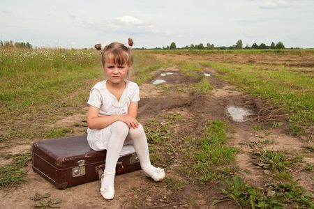 holdall: Young girl on rural  road