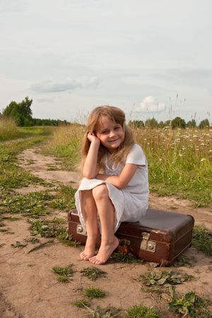 country girls: Young girl on rural  road