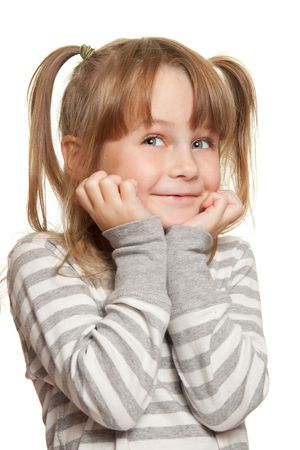 Little girl in grey face emotions Stock Photo