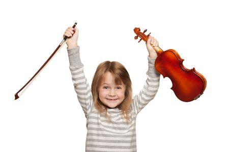 violist: Little girl vith 116 viool. Stockfoto