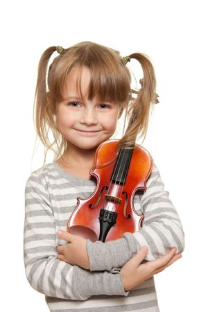 violines: Retrato de ni�a con 1  16 viol�n. Foto de archivo