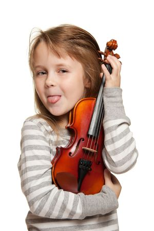 Little girl with 1/16 violin. Stock Photo - 5815455