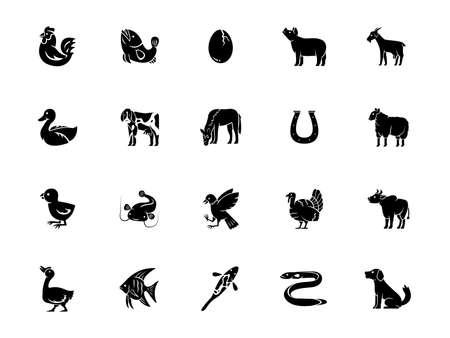 vector illustration set of animal isolated on white background Vecteurs
