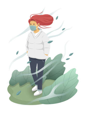 vector illustration of cool red hair girl walking in the cold isolated on white background.