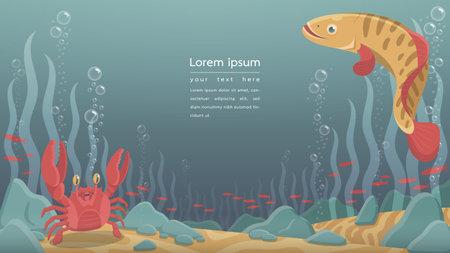 vector illustartion of underwater landscape background with cute cartoon animal.