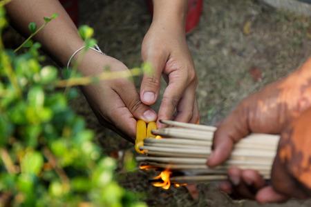 buddhism prayer belief: incense