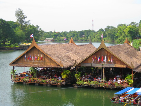 KANCHANABURI, THAILAND - April 26, 2017 The houseboat and floating restaurant at Kanchanaburi in thailand