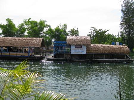 KANCHANABURI, THAILAND - April 26, 2017The houseboat and floating restaurant at Sai Yok Yai waterfall Kanchanaburi in thailand