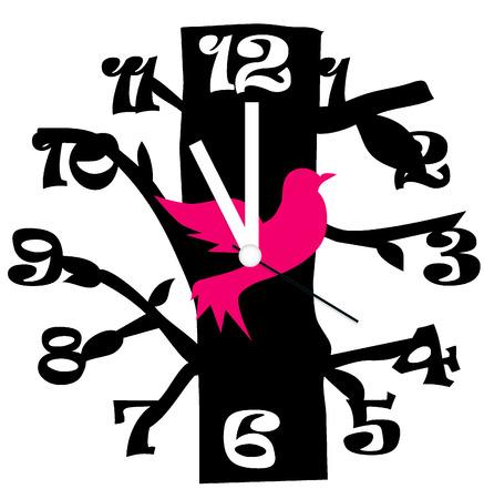 orologio da parete: Orologio creativo di disegno dell'uccello Vettoriali