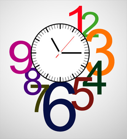 object with face: Creative clock design colorful.