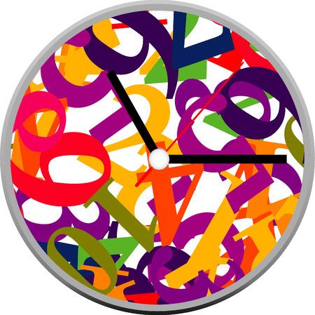 Creative clock design colorful. Vector