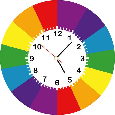 Creative clock face design colorful. Vector