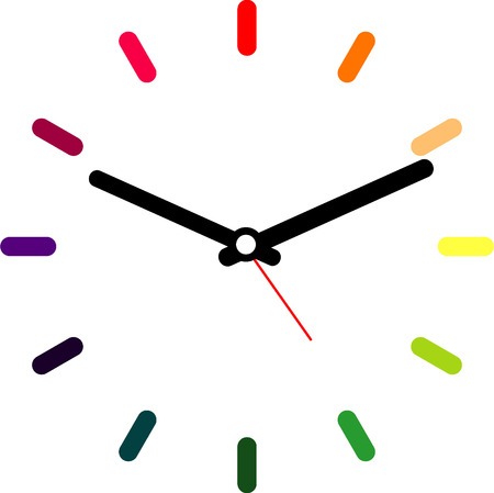 Creative clock design colorful. Vector