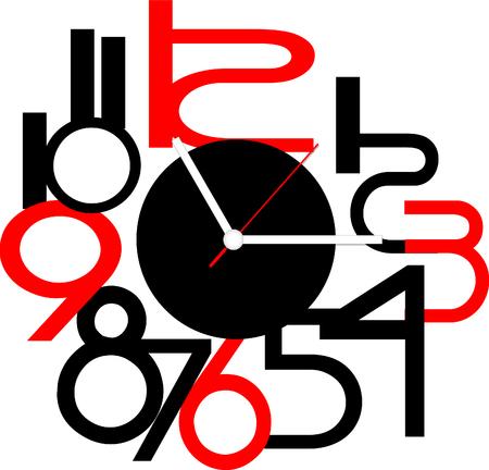objetos cuadrados: Diseño de reloj creativa. Vectores