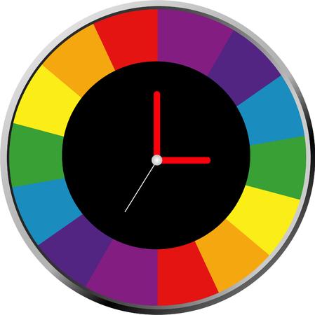 clock face: Creative clock design colorful.