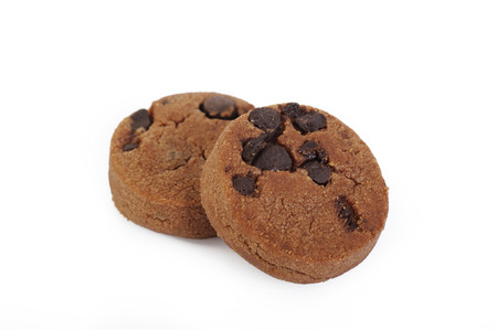 choco chips: Chocolate chip cookies on white background