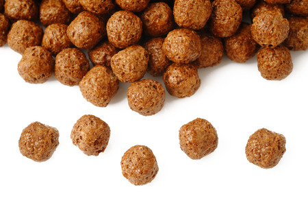 chocolate cereal: Chocolate cereal on white background Stock Photo