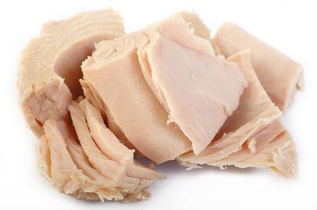 tinned: tuna steak isolated on white background Stock Photo