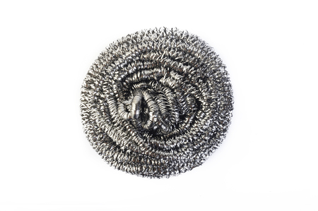 stainless background: stainless steel scourer on white background