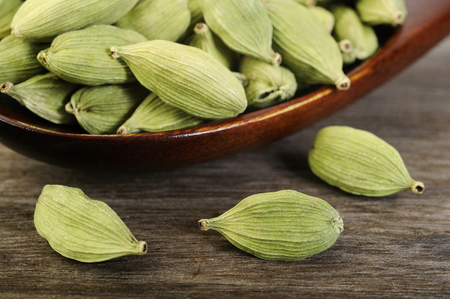 asian flavors: green cardamom pods Stock Photo