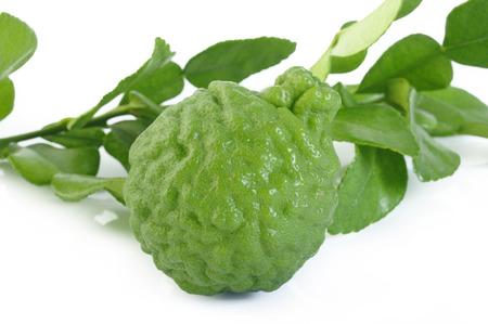 bergamot with leaf on white background