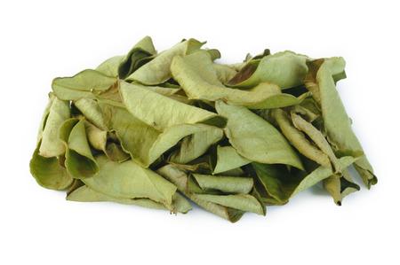 dried bergamot leaves on white background Stock Photo