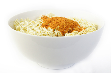 flavoring: dry instant noodles with flavoring in white dish