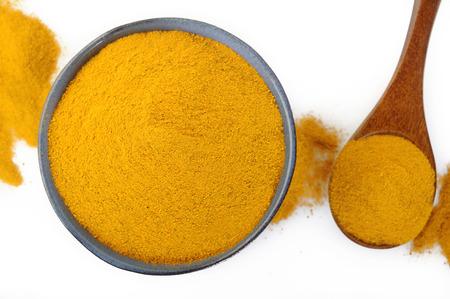 curcumin: turmeric powder in ceramic bowl