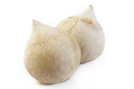 peeled young coconut on white background Banque d'images
