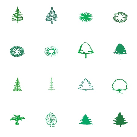green tree silhouette Vector