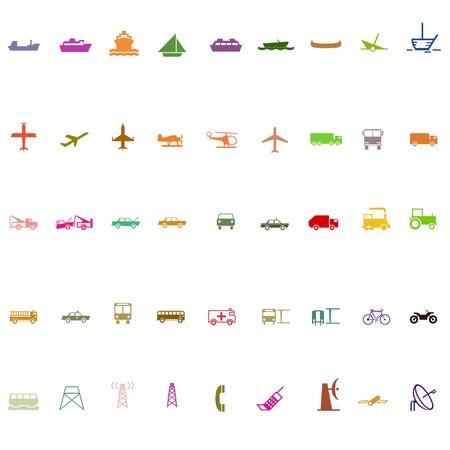 транспорт: Транспорт значок силуэт набор красочные серии