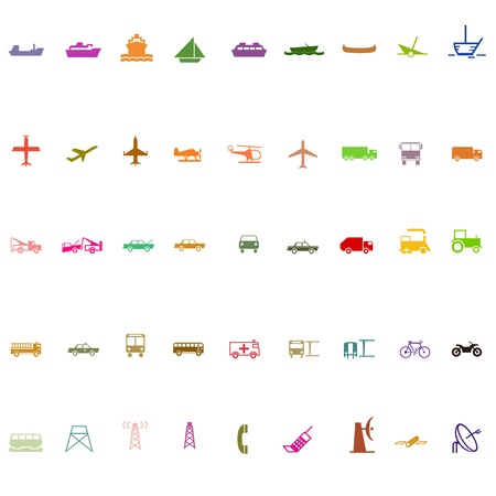 Transport silhouette icon set colorful series Vector