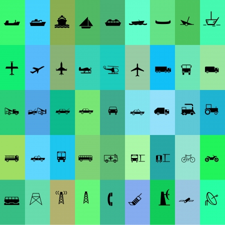 Transport silhouette icon set green and blue background Vector