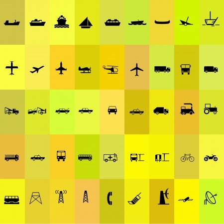 plane icon: Transport silhouette icon set yellow background