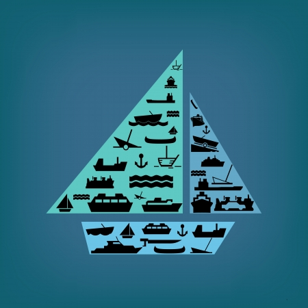 boat set on blue background Vector