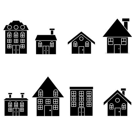 residential neighborhood: Home silhouette set