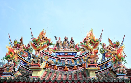 Chinese temple roof art photo