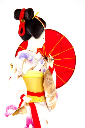 geisha kimono: japanese Doll white isolated