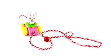 pull toy: Juguete de arrastre del ni�o del vintage con colores