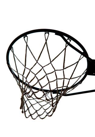 basketball hoop: A view of a basketball hoop from below