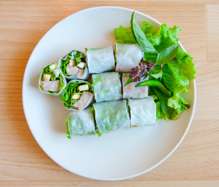 cuon: Glass Noodle, Green leaf lettuce, and pork  roll