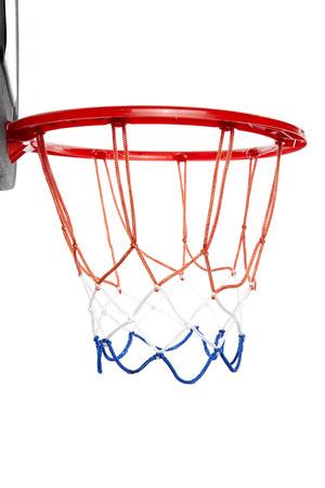 basketball net: Basketball hoop isolated white background Stock Photo