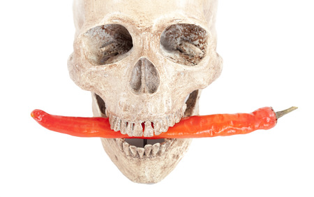 aliments droles: Human Skull with a red pepper on white background.