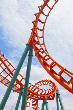 A segment  roller coaster on blue sky background Stock Photo