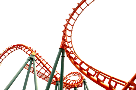 coaster: A segment of a roller coaster ,on white background